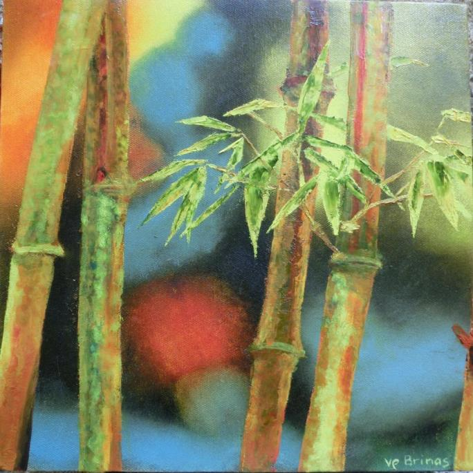 les bambous hst 30×30cm